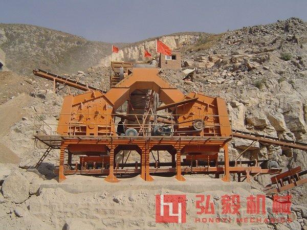 河卵石制砂机生产现场